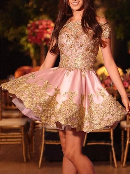 Off-the-Shoulder Cut Short With Applique Satin A-Line Homecoming Dresses