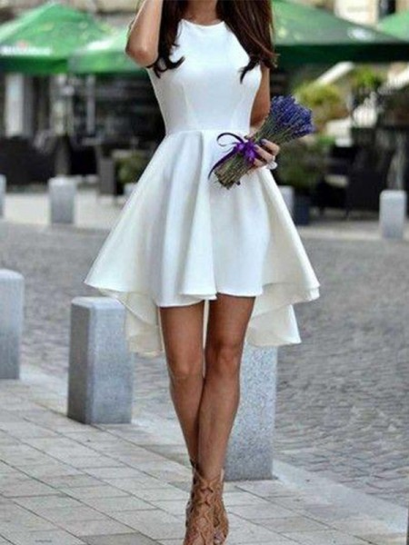 Jewel Cut Short With Ruffles Satin White A-Line Homecoming Dresses