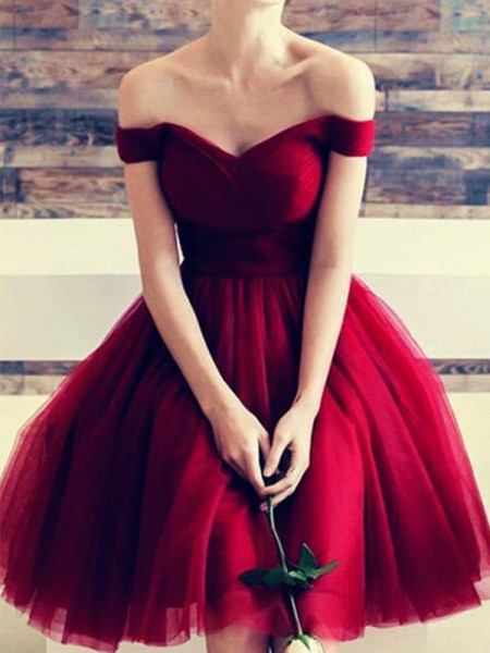 Off-the-Shoulder Cut Short With Ruffles Tulle Red A-Line Homecoming Dresses