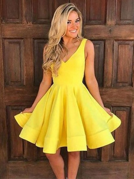 A-Line Straps Satin Ruffles Short/Mini Homecoming Dresses