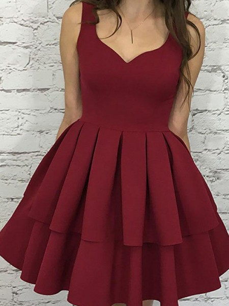 A-Line Straps Satin Layers Short/Mini Homecoming Dresses