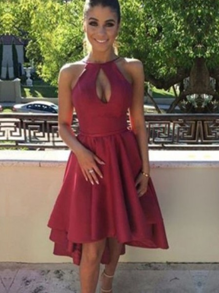 A-Line Satin Asymmetrical Ruched Halter Homecoming Dresses
