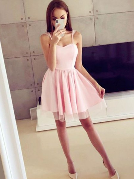 A-Line Satin Spaghetti Straps Ruched Short/Mini Homecoming Dresses