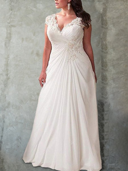 Sweetheart Lace Sweep/Brush Train Chiffon Plus Size Empire Wedding Dresses