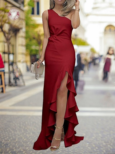 Sheath One-Shoulder Sweep/Brush Train Ruffles Silk Like Satin Prom Dresses