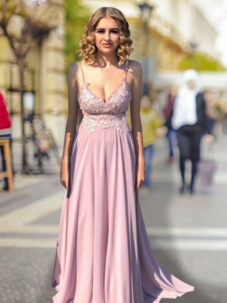 Spaghetti Straps V-neck Lace Sweep/Brush Train Empire Chiffon Prom Dresses
