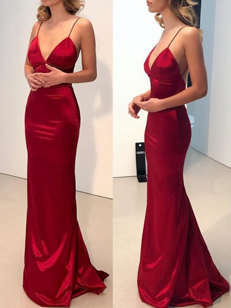 Sheath Spaghetti Straps V-neck Sweep/Brush Train Silk like Satin Prom Dresses