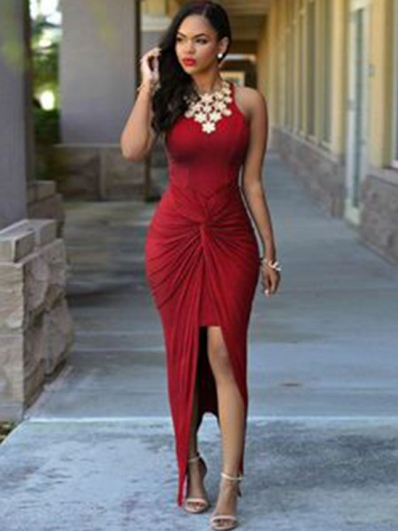 Sheath Jewel Ankle-Length Spandex Beading Asymmetrical Prom Dresses