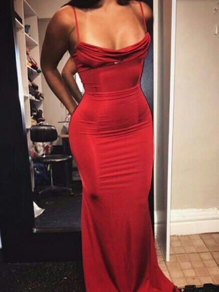 Sheath Spaghetti Straps Floor-Length Red Spandex Prom Dresses
