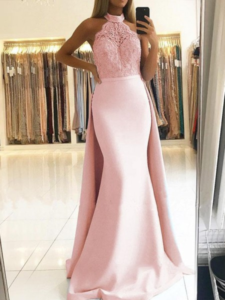 Mermaid Halter Brush Train Pink Satin Prom Dresses