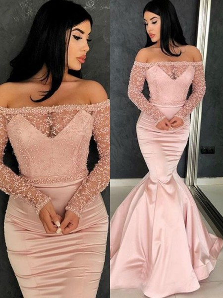 Trumpet/Mermaid Long Sleeves Off-the-Shoulder Sweep/Brush Train Ruffles Satin Dresses