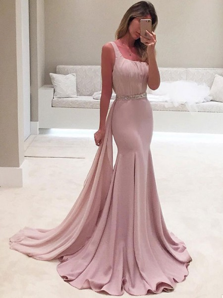 Trumpet/Mermaid Sleeveless One-Shoulder Sweep/Brush Train Ruffles Chiffon Dresses