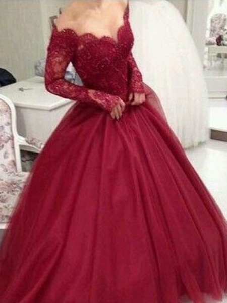 Ball Gown V-neck Long Sleeves Floor-Length Lace Tulle Dresses