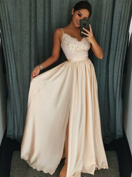A-Line/Princess Sleeveless Spaghetti Straps Floor-Length Applique Silk like Satin Dresses
