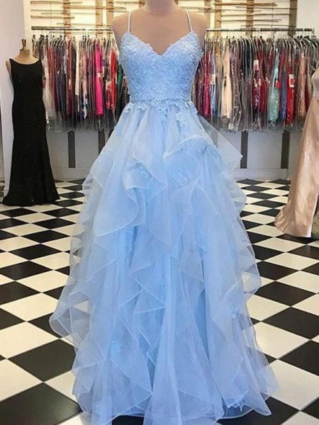 A-Line/Princess Sleeveless Spaghetti Straps Floor-Length Applique Organza Dresses