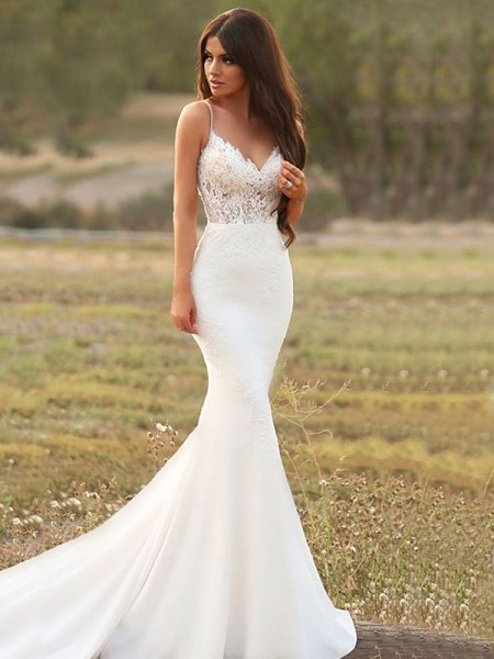 Trumpet/Mermaid Satin Applique Spaghetti Straps Sleeveless Sweep/Brush Train Wedding Dresses