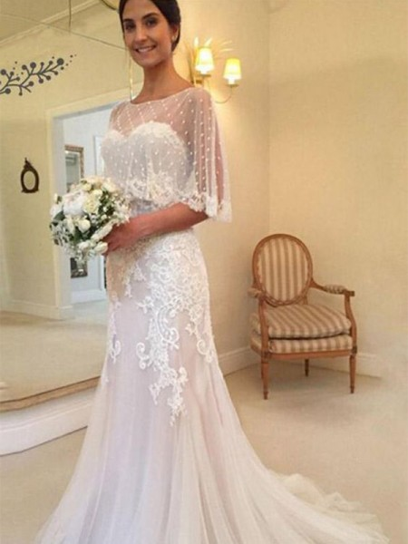Sheath/Column Tulle Applique Sweetheart Sleeveless Sweep/Brush Train Wedding Dresses