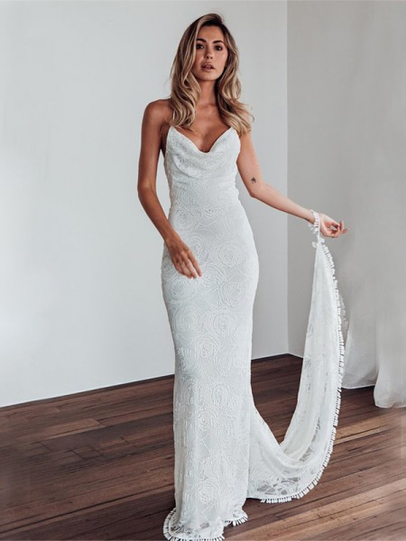 63aa48a911 Sheath/Column Lace Spaghetti Straps Sleeveless Sweep/Brush Train Wedding  Dresses ...