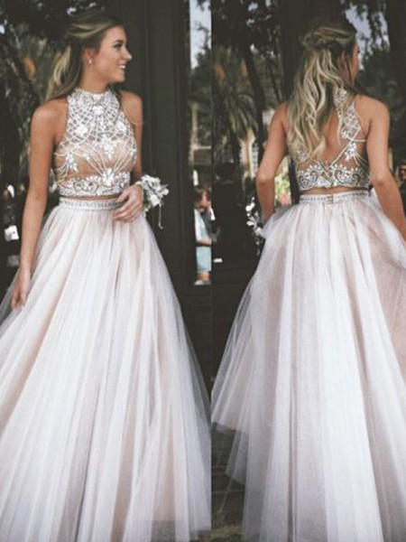 A-Line High Neck Tulle Beading Floor-Length Prom Dresses