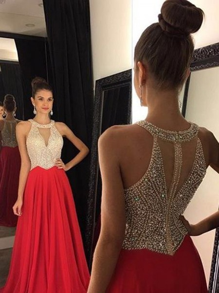 A-Line Halter Beading Sweep/Brush Train Chiffon Prom Dresses