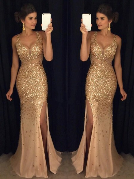 Sheath V-neck Sequin Sweep/Brush Train Jersey Prom Dresses
