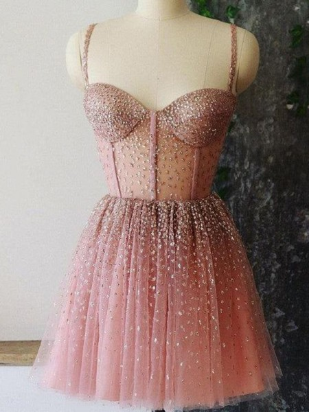 A-Line/Princess Tulle Paillette Spaghetti Straps Sleeveless Short/Mini Homecoming Dresses