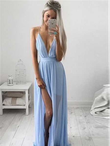 A-Line Spaghetti Straps Chiffon Ruched Floor-Length Prom Dresses