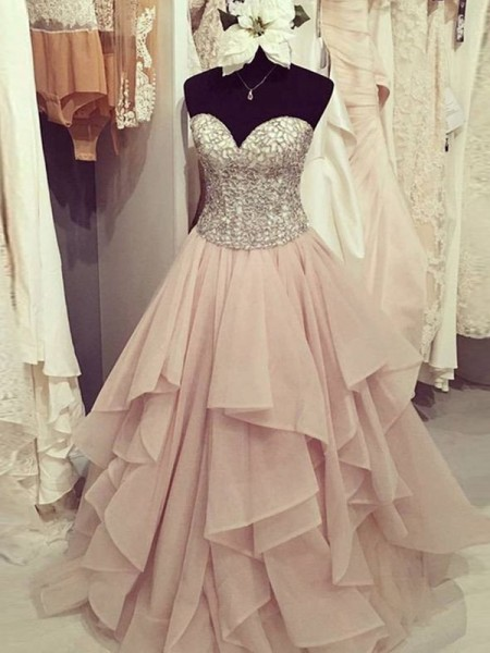 Sweetheart Floor-Length Beading Chiffon Ball Gown Prom Dresses