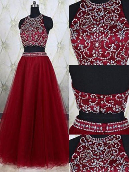 A-Line Jewel Tulle Beading Floor-Length Two Piece Prom Dresses