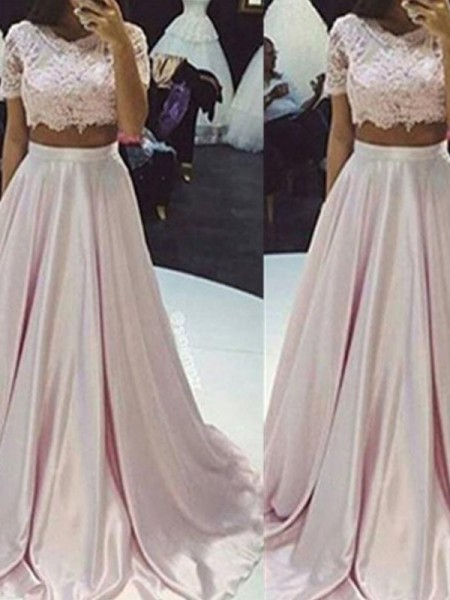 A-Line Scoop Floor-Length Lace Taffeta Two Piece Prom Dresses