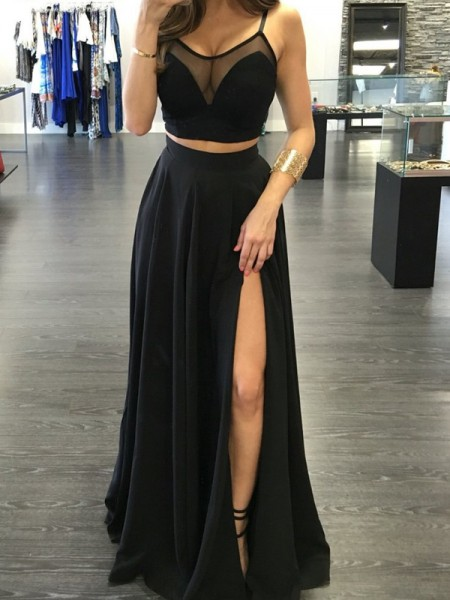 A-Line Spaghetti Straps Floor-Length Chiffon Two Piece Prom Dresses