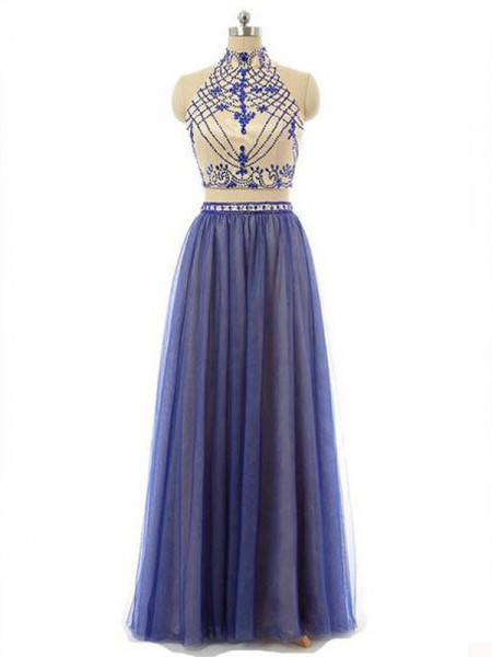 A-Line High Neck Chiffon Beading Floor-Length Two Piece Prom Dresses