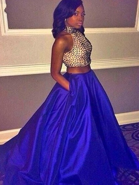 Halter Sweep/Brush Train Beading Taffeta Ball Gown Two Piece Prom Dresses