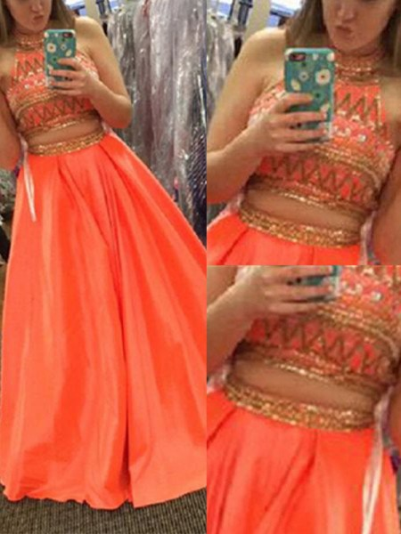 A-Line High Neck Satin Beading Floor-Length Two Piece Prom Dresses