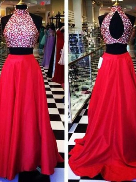 A-Line Halter Beading Satin Sweep/Brush Train Two Piece Prom Dresses