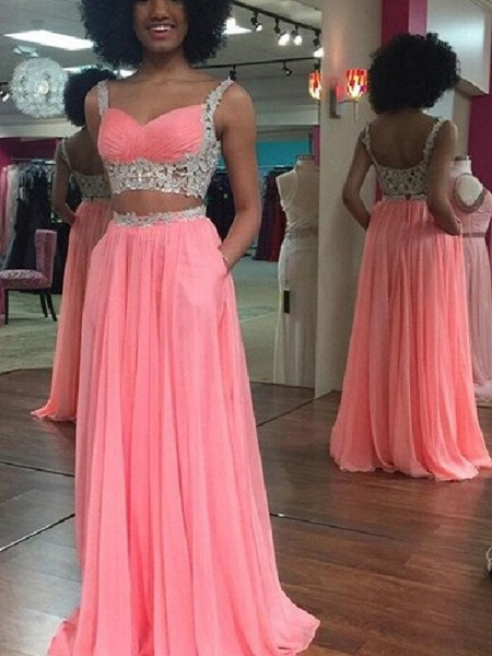A-Line Straps Floor-Length Lace Chiffon Two Piece Prom Dresses