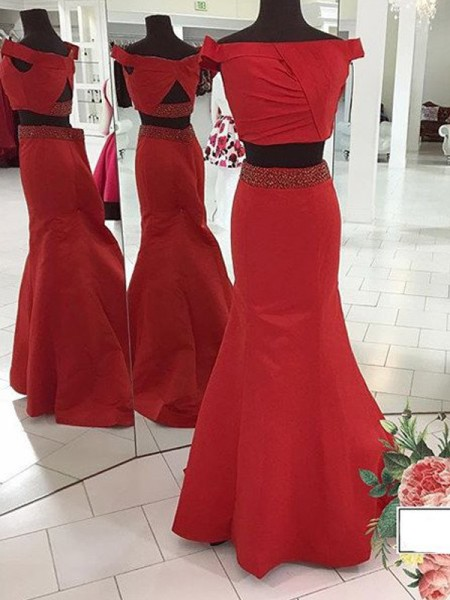 Mermaid Off-the-Shoulder Sweep/Brush Train Ruched Satin Two Piece Prom Dresses