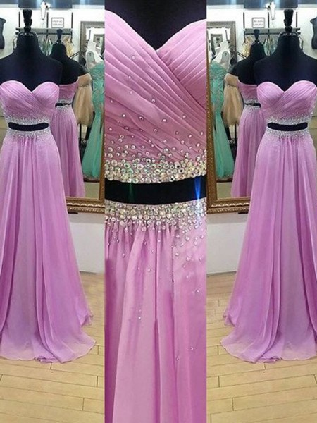 A-Line Sweetheart Floor-Length Beading Chiffon Two Piece Prom Dresses