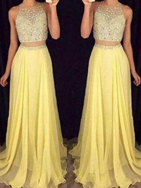 A-Line Scoop Floor-Length Beading Chiffon Two Piece Prom Dresses