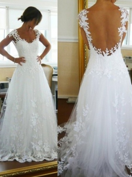 A-Line V-neck Sweep/Brush Train Lace Tulle Wedding Dresses