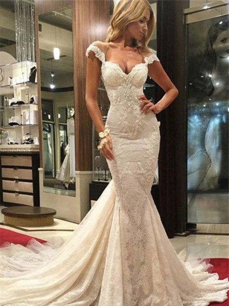 Mermaid Chapel Train V-neck Lace Wedding Dresses