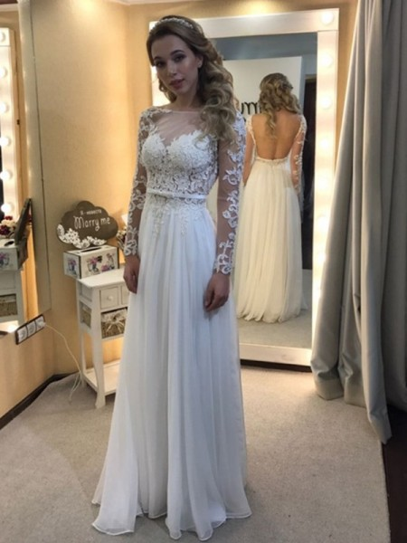 A-Line Bateau Floor-Length Lace Chiffon Wedding Dresses