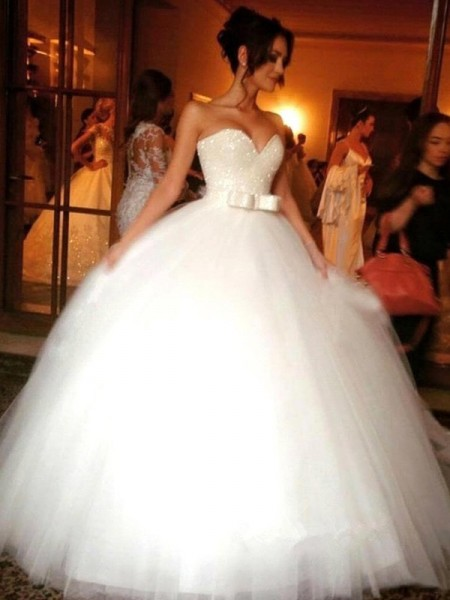 Bowknot Sweetheart Tulle Floor-Length Ball Gown Wedding Dresses