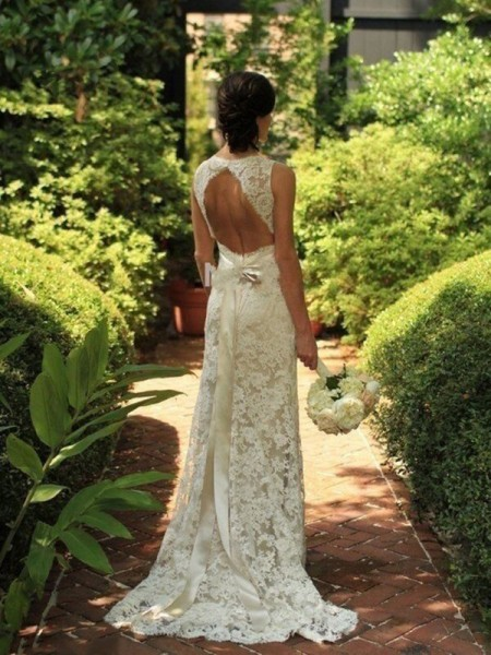 Sheath Lace V-neck Sweep/Brush Train Wedding Dresses