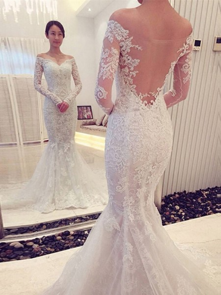 Mermaid Off-the-Shoulder Lace Chapel Train Wedding Dresses