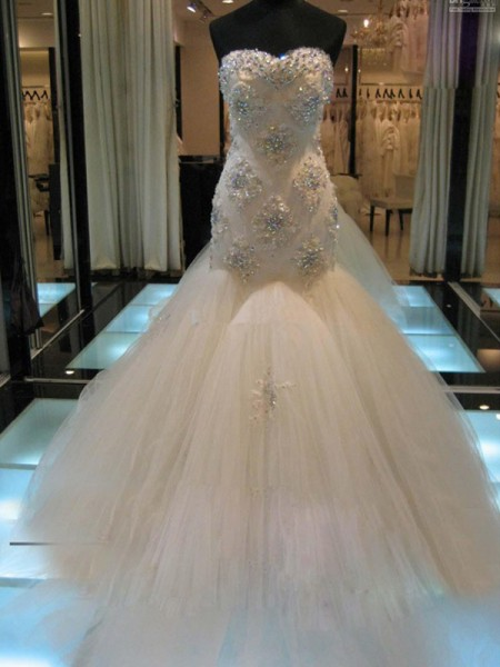 Mermaid Sweetheart Chapel Train Beading Tulle Wedding Dresses