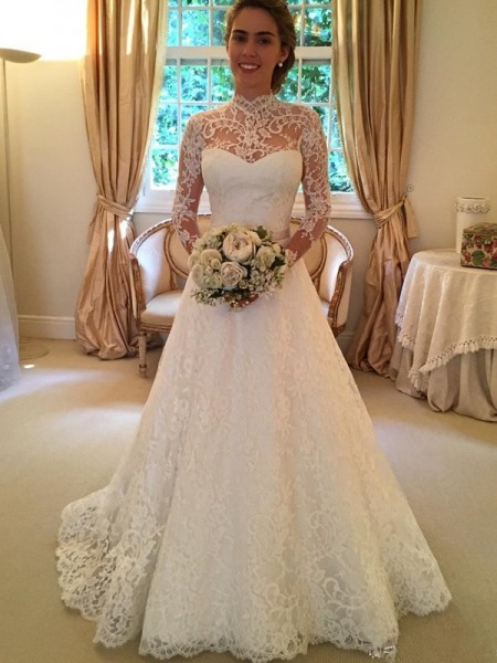 High Neck Lace Court Train Ball Gown Wedding Dresses