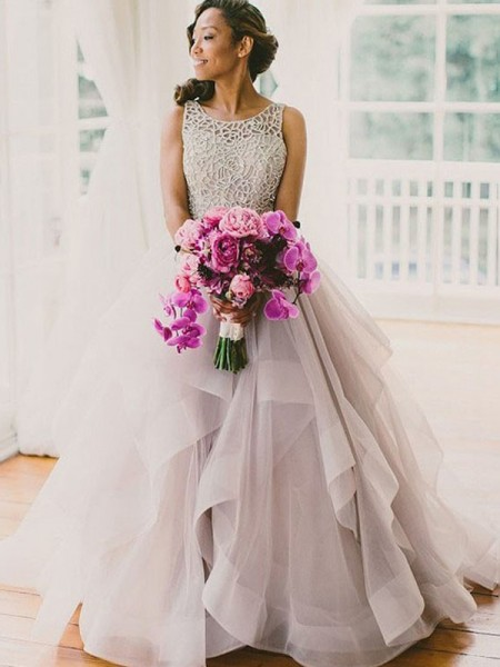 Scoop Beading Floor-Length Tulle Ball Gown Wedding Dresses