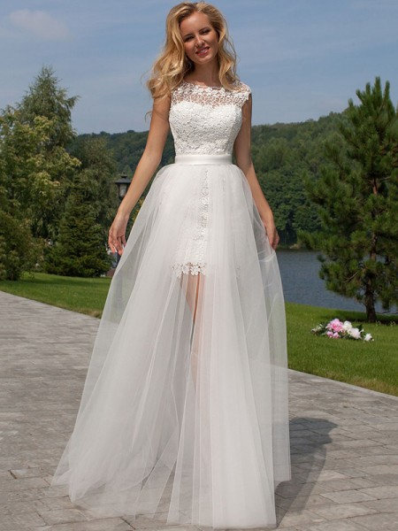 Sheath Lace Scoop Sweep Train Tulle Wedding Dresses