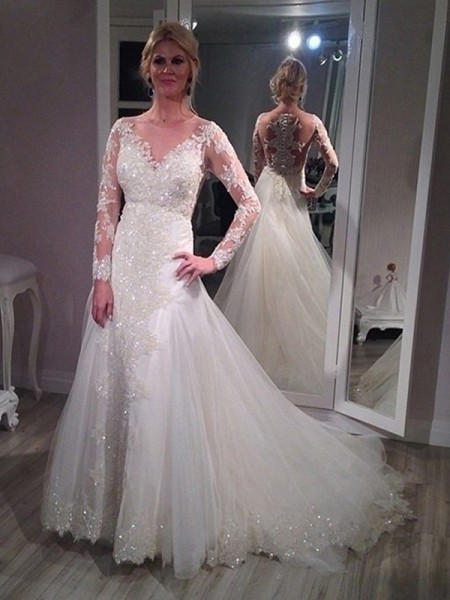A-Line V-neck Sweep/Brush Train Sequin Tulle Wedding Dresses